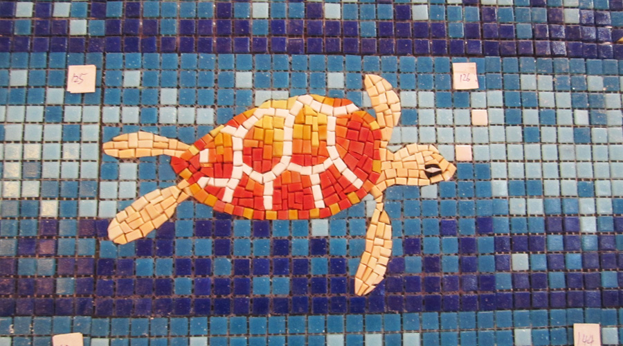 Handcut Turtle Glass Mosaic