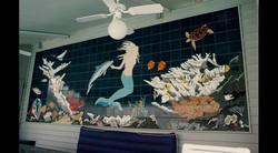 Mermaid & Dolphin Poolside Mural