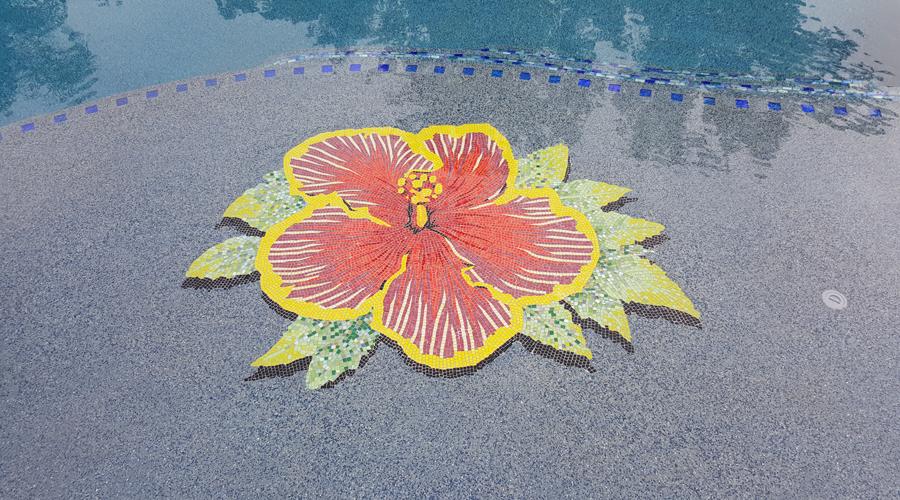 Byzantine Glass Mosaic Hibiscus Flower Closeup