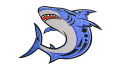 Handcut Mixed Technique Glass Mosaic Tile Shark Mural by Agape Tile LLC