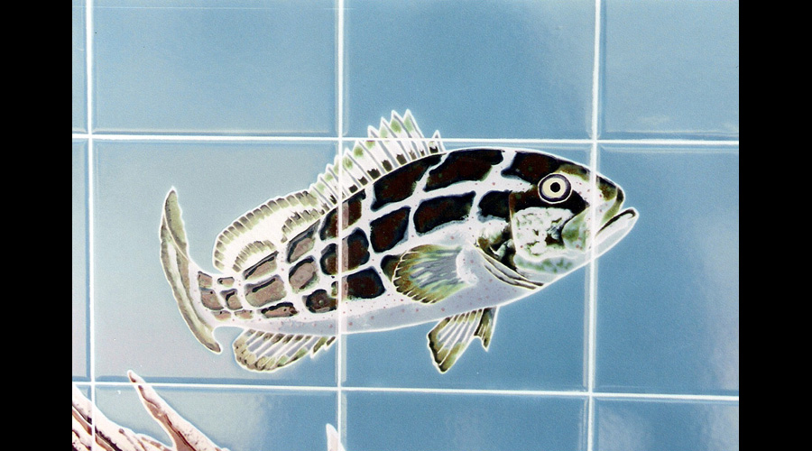 Handpainted Tile Mural Bass