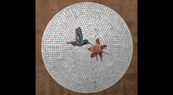 Finished Hummingbird and Orchid Tabletop Mosaic Before Mounting