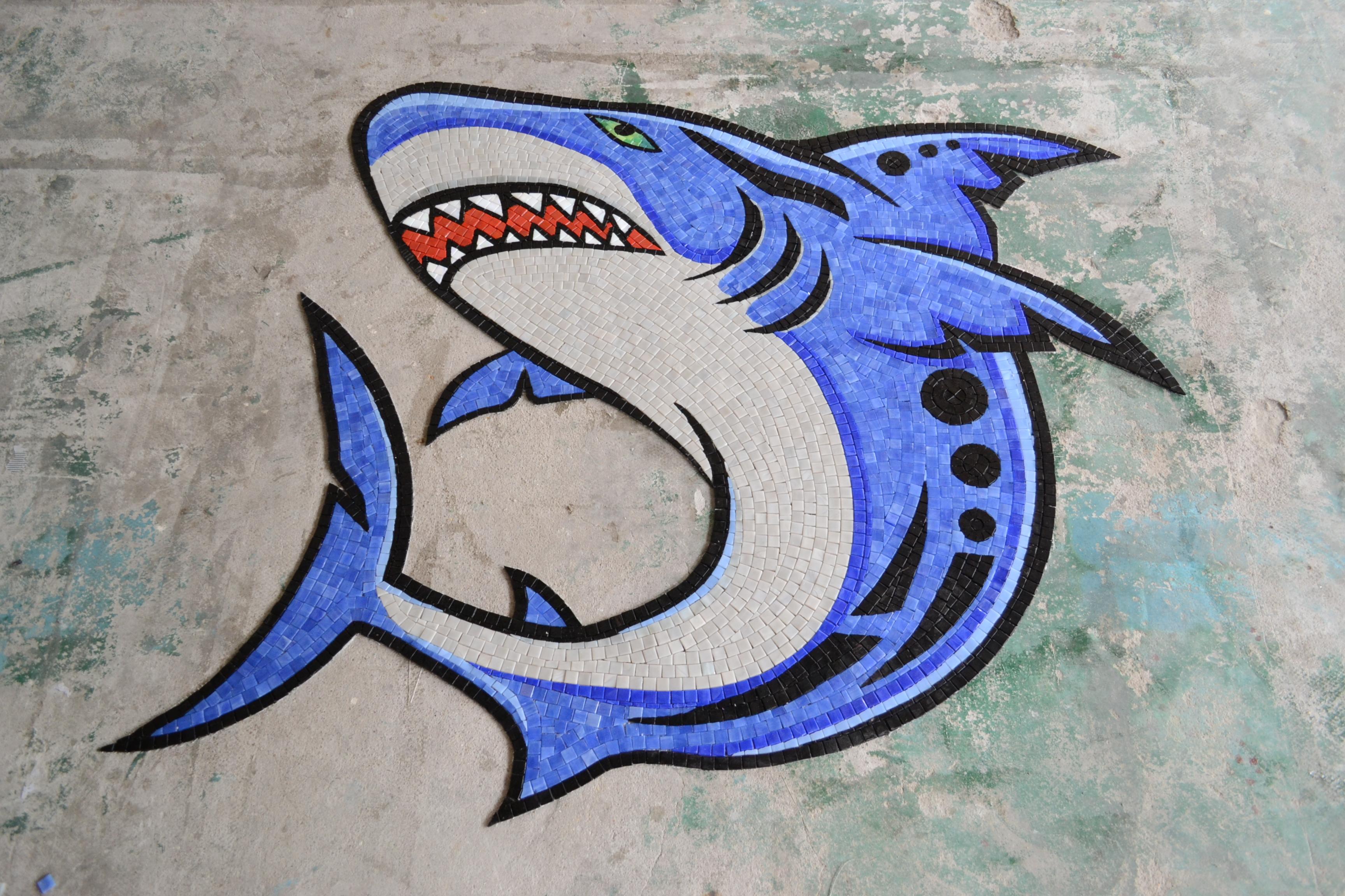Handcut Glass Mosaic Shark Mural by Agape Tile LLC.JPG
