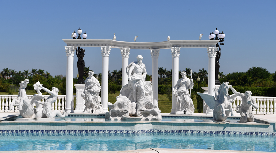 Traditional Roman Greek Key Pool and Spa