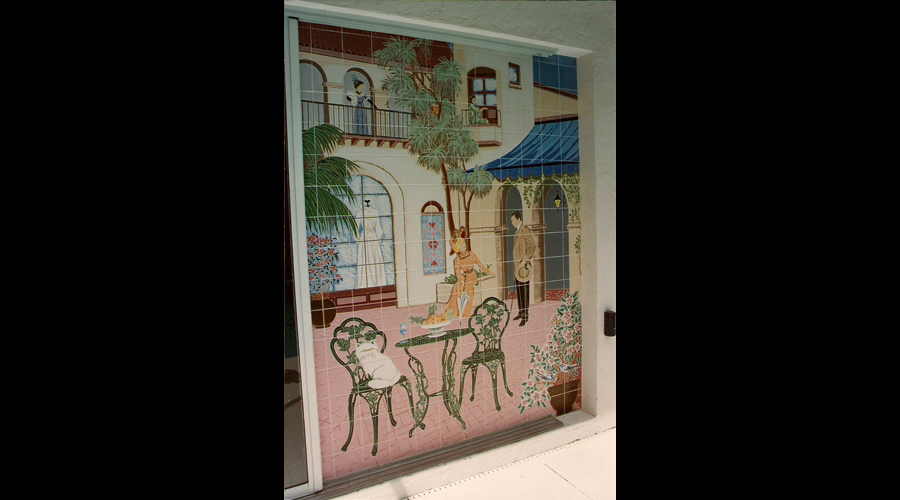 Romantic Poolside Mural installed