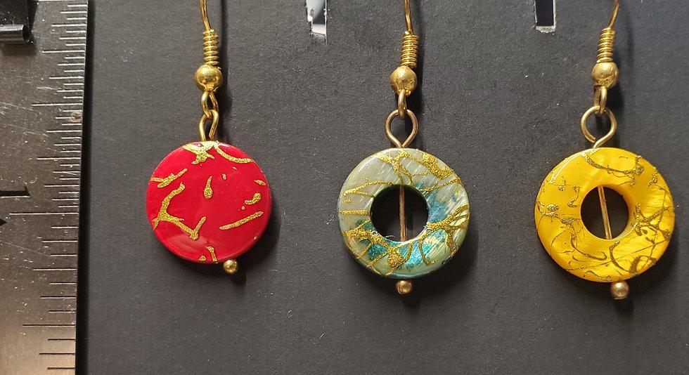 Oriental Flat & Donut Drop Earrings