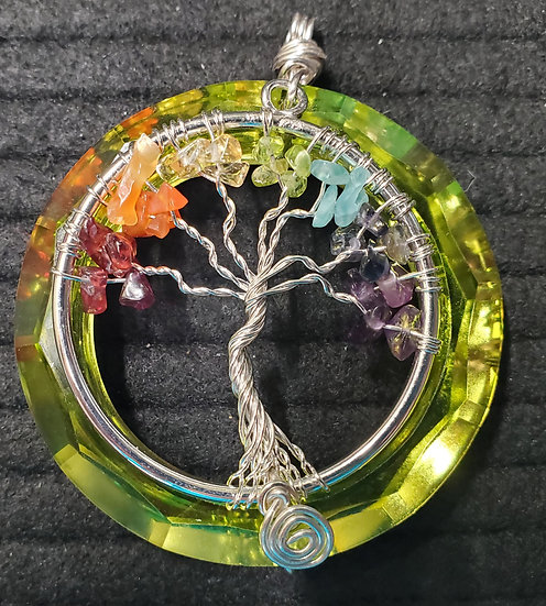 Green Titanium Crystal with Rainbow Tree of Life