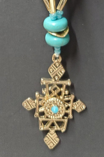Turquoise & Gold Medallion Spiral