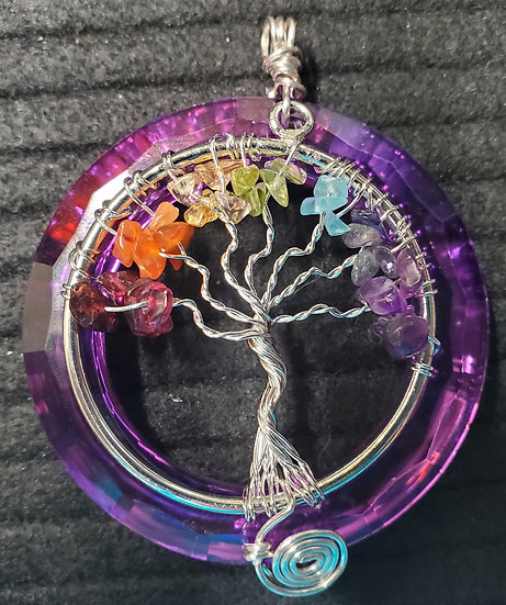Purple Titanium Crystal with Rainbow Tree of Life (part two)