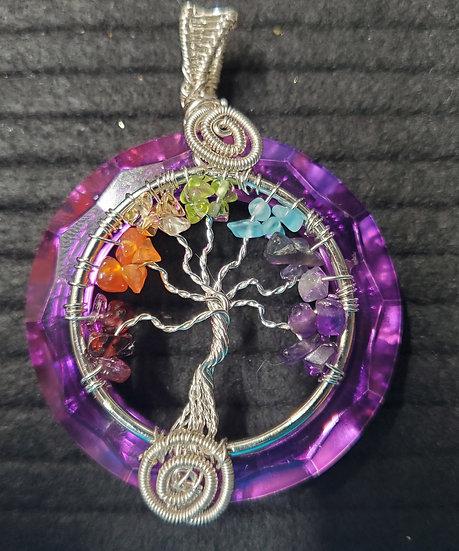 Purple Titanium Crystal with Rainbow Tree of Life
