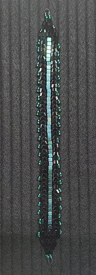 Black & Metallic Green Herringbone Sparkle