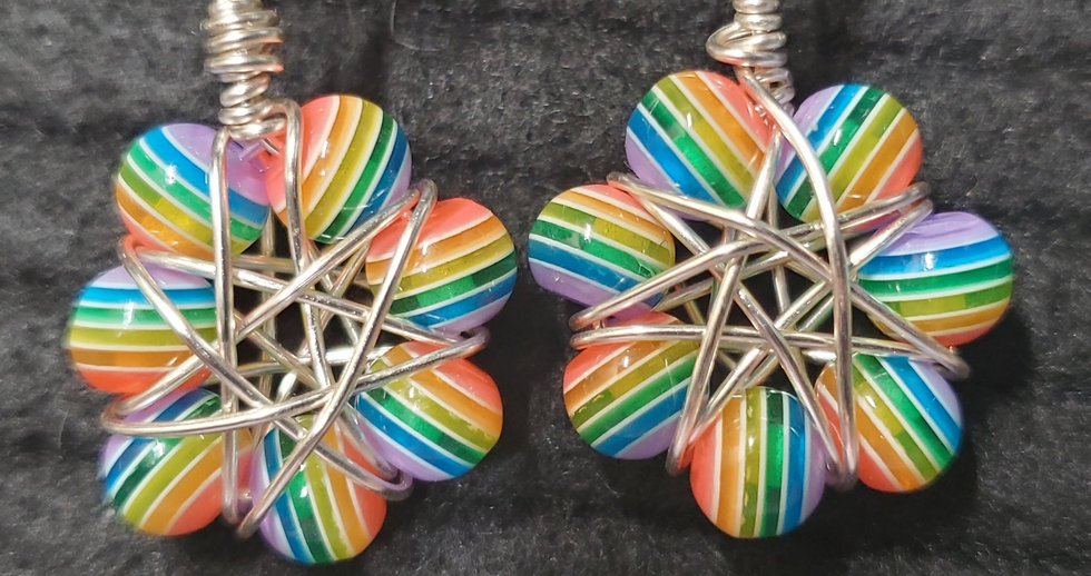 Rainbow Resin Starflower Earrings