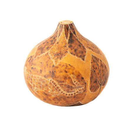 Bakongo calabash engraved by artist Laurent Bumbu representing a battle between a crocodile and snake