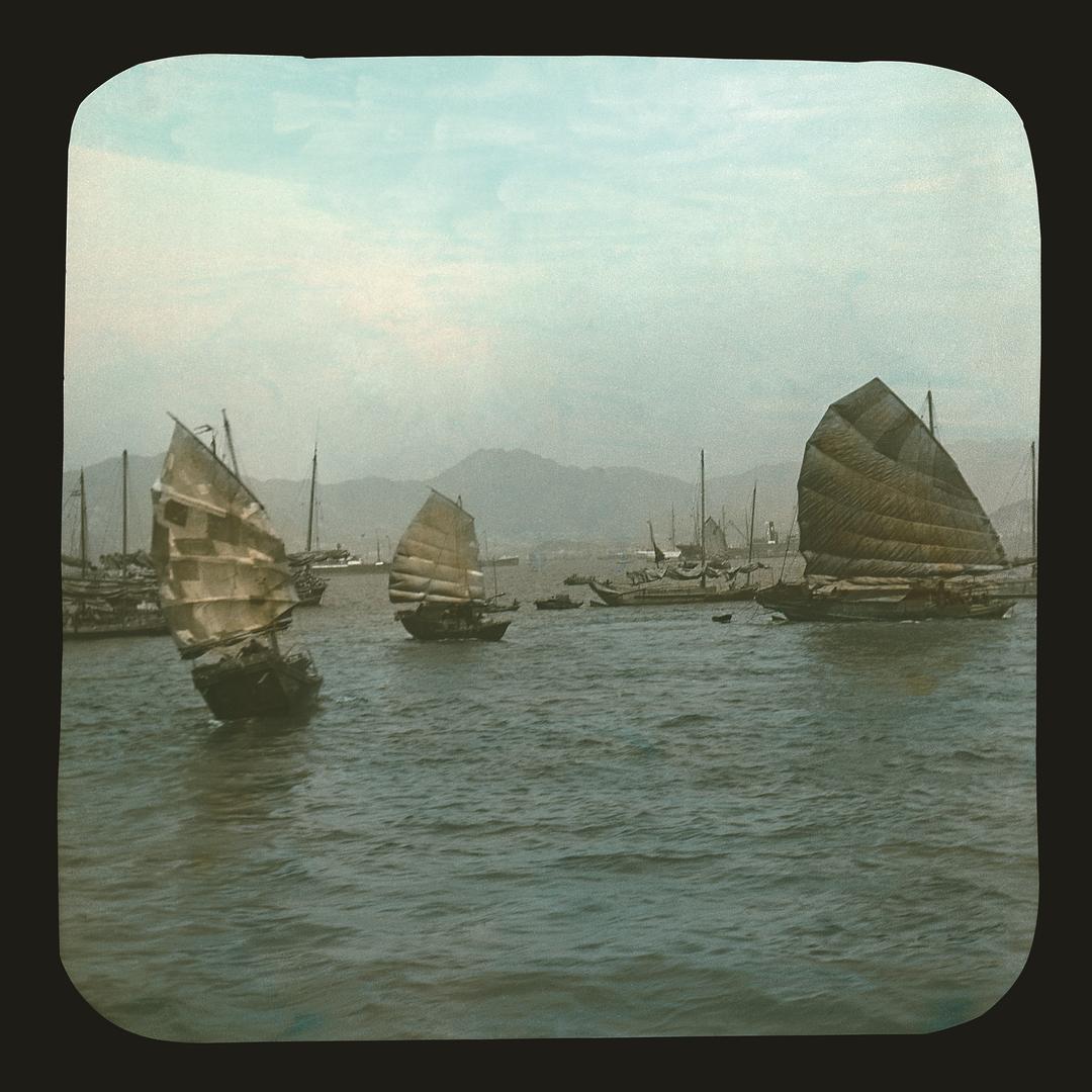 維多利亞港上的中式帆船