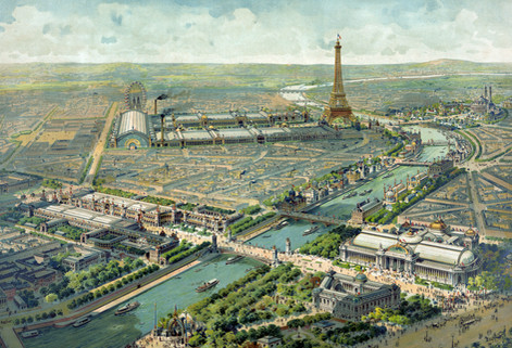 Aerial view illustration of the Paris Exposition