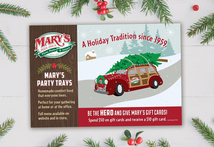 Mary's Holiday Mailer Front