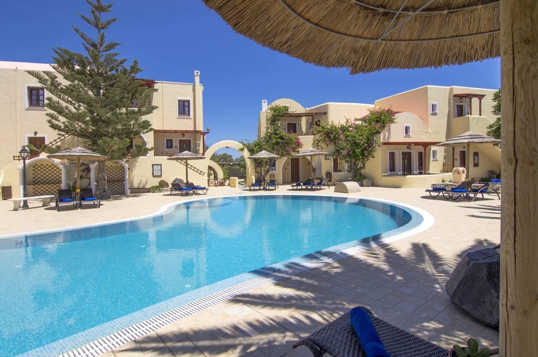 Pool area at Smaragdi Hotel in Santorini, Greece. Greek island luxury.