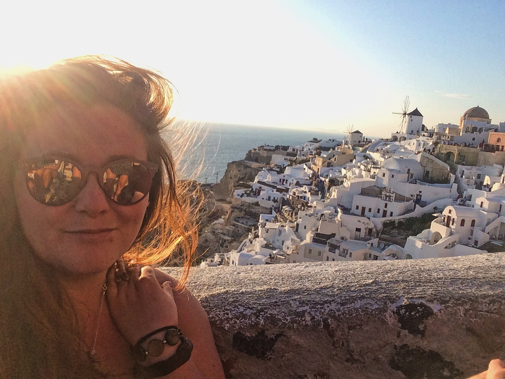Watching the sunset in Oia, Santorini, Greece