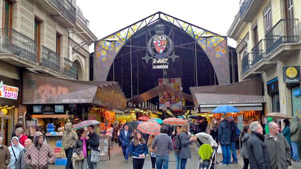 Entrance of the Mercat la Boqueria in Barcelona Spain