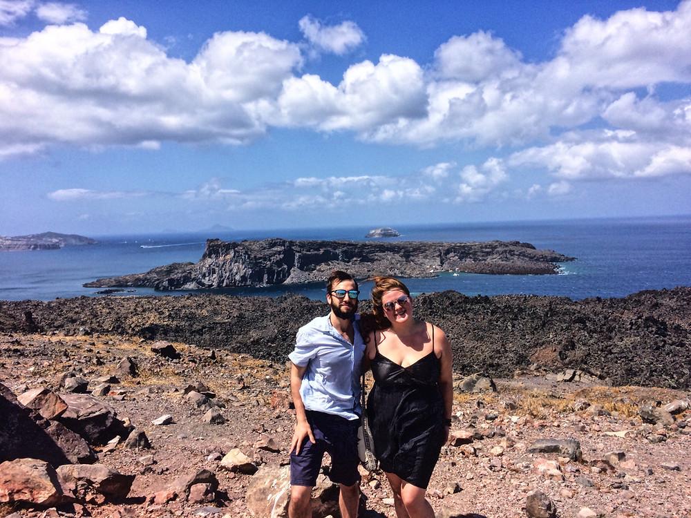 On top of the volcano in Santorini, Greece