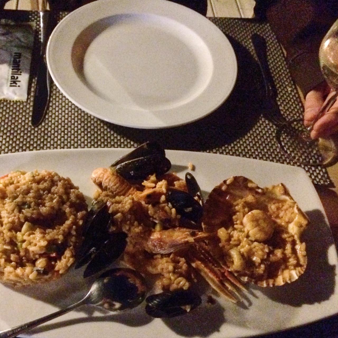 Seafood risotto at Aegaen Safari restaurant in Perivolos, Santorini, Greece