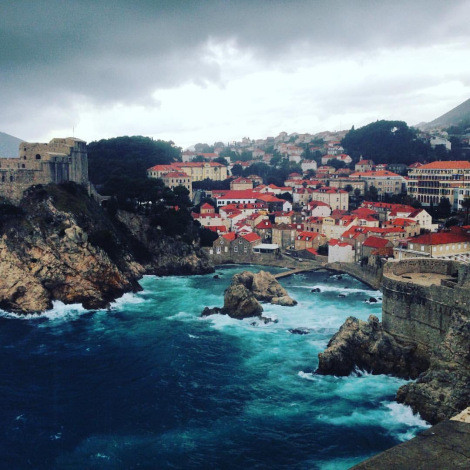 The fort and part of the wall of the old city of Dubrovnik. Taken from on top of the wall during a rain storm.