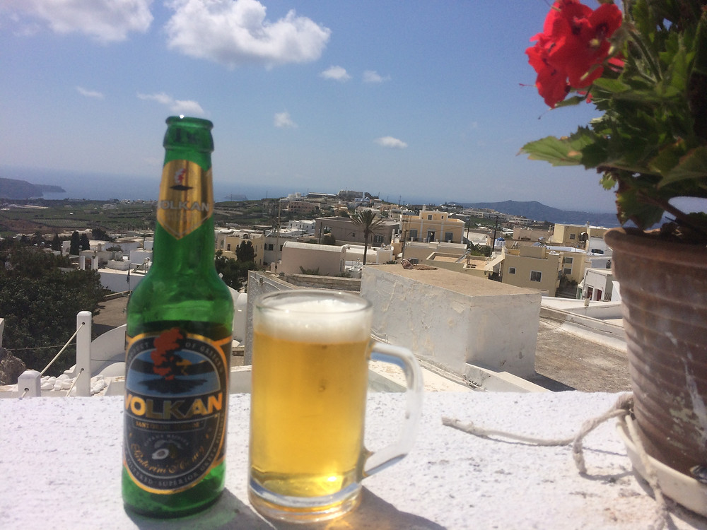 Volcanic beer in Pyrgos, Santorini, Greece