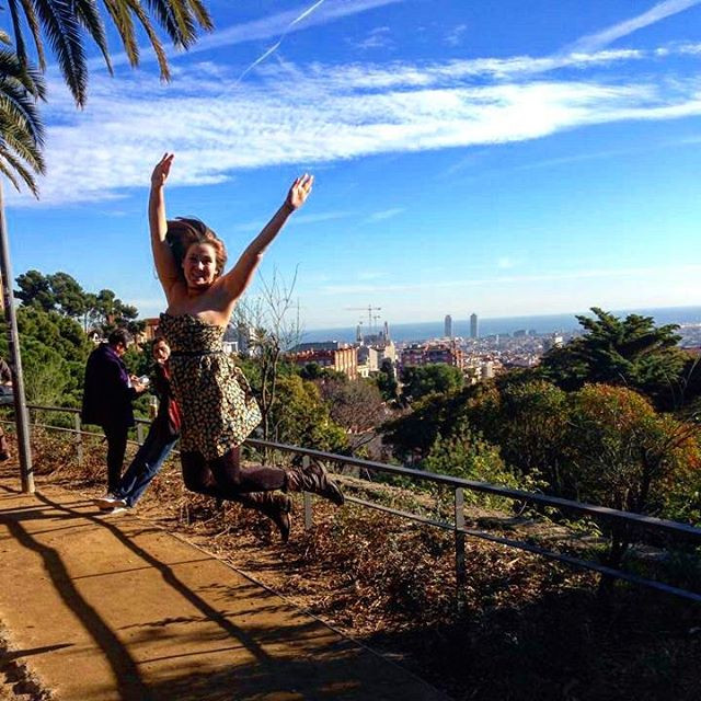 Jumping in Parc Guell, Barcelona, Spain