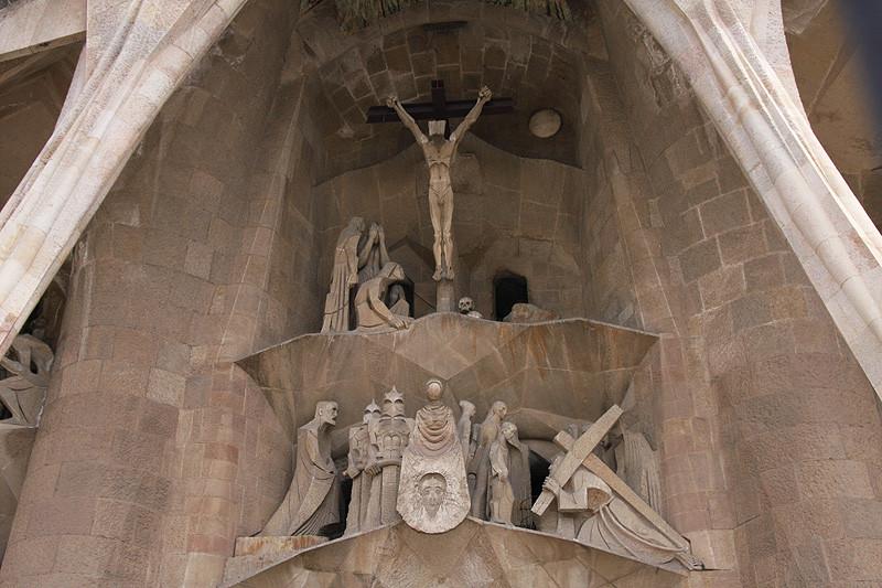 Passion Facade of the Sagrada Familia in Barcelona Spain