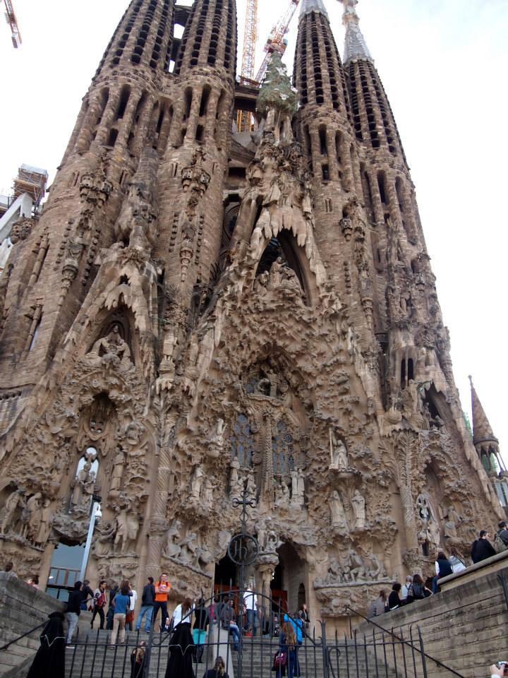 The front facade of the Sagrada Familia in Barcelona