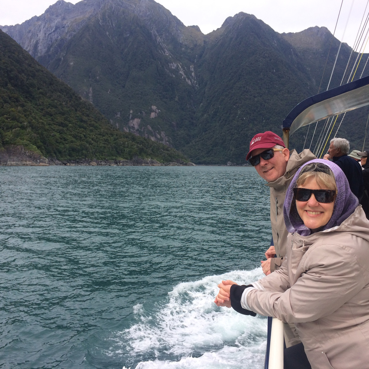 Smiling on the boat during our Milford Sound cruise