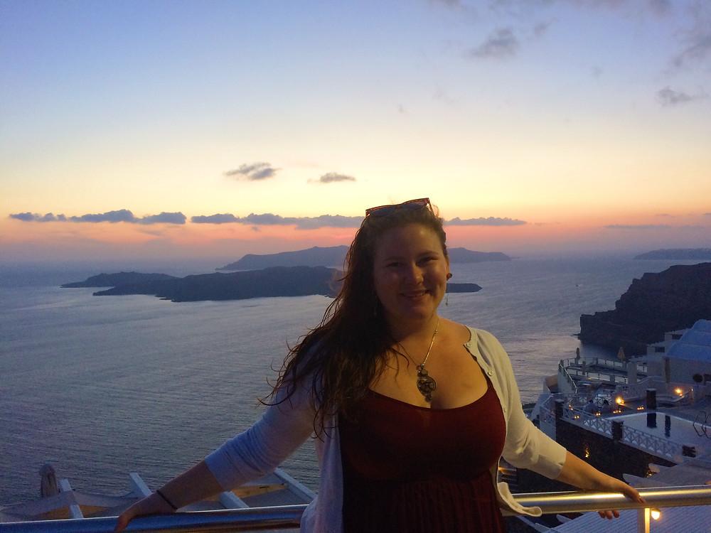 Sunset in Santorini, Greece.