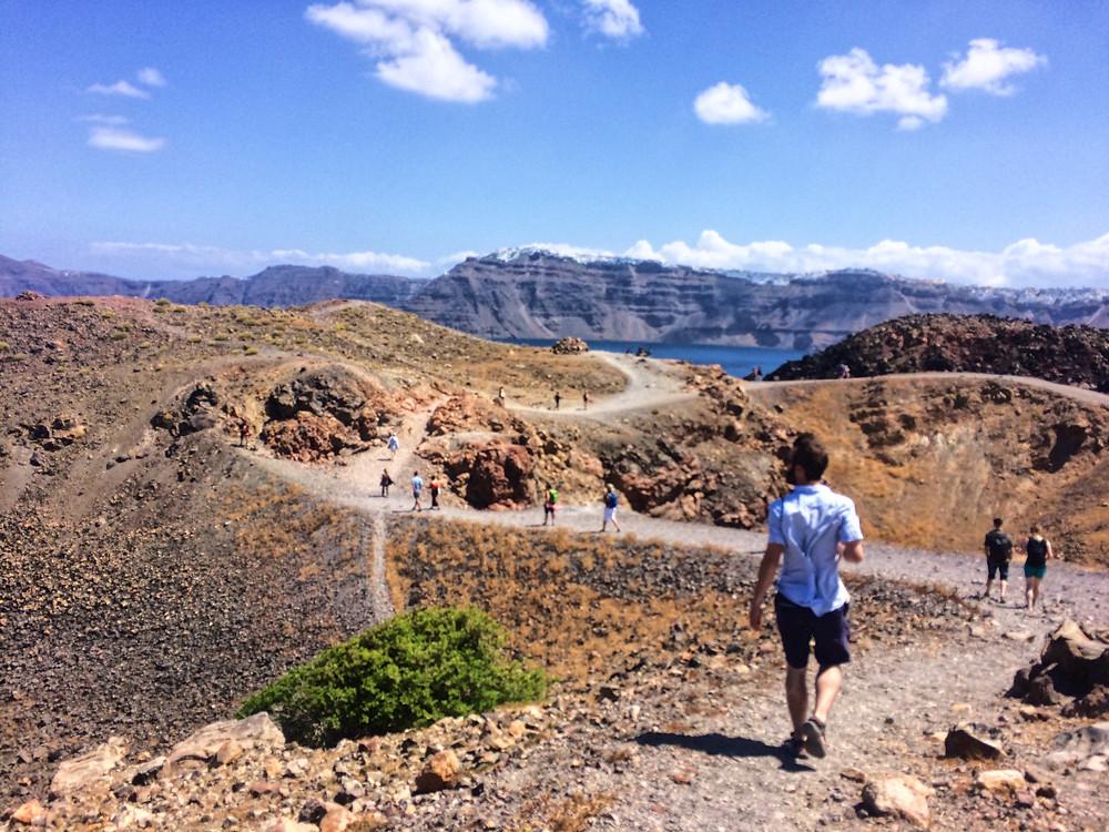 Hiking the volcano in Santorini, Greece