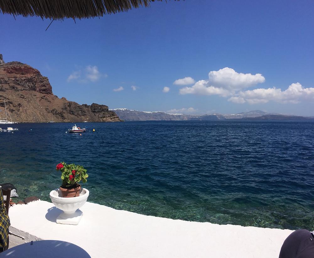 View of the Aegaen Sea in Santorini, Greece