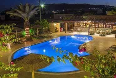 Pool at Smaragdi Hotel in Santorini, Greece. Greek island luxury.