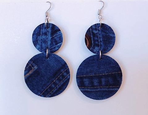 Denim Look Fabric Earrings