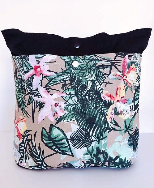 Tote Bag Green Leaves Flowers