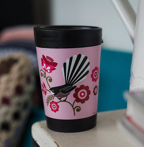 small cuppa coffee cup pink pīwakawaka