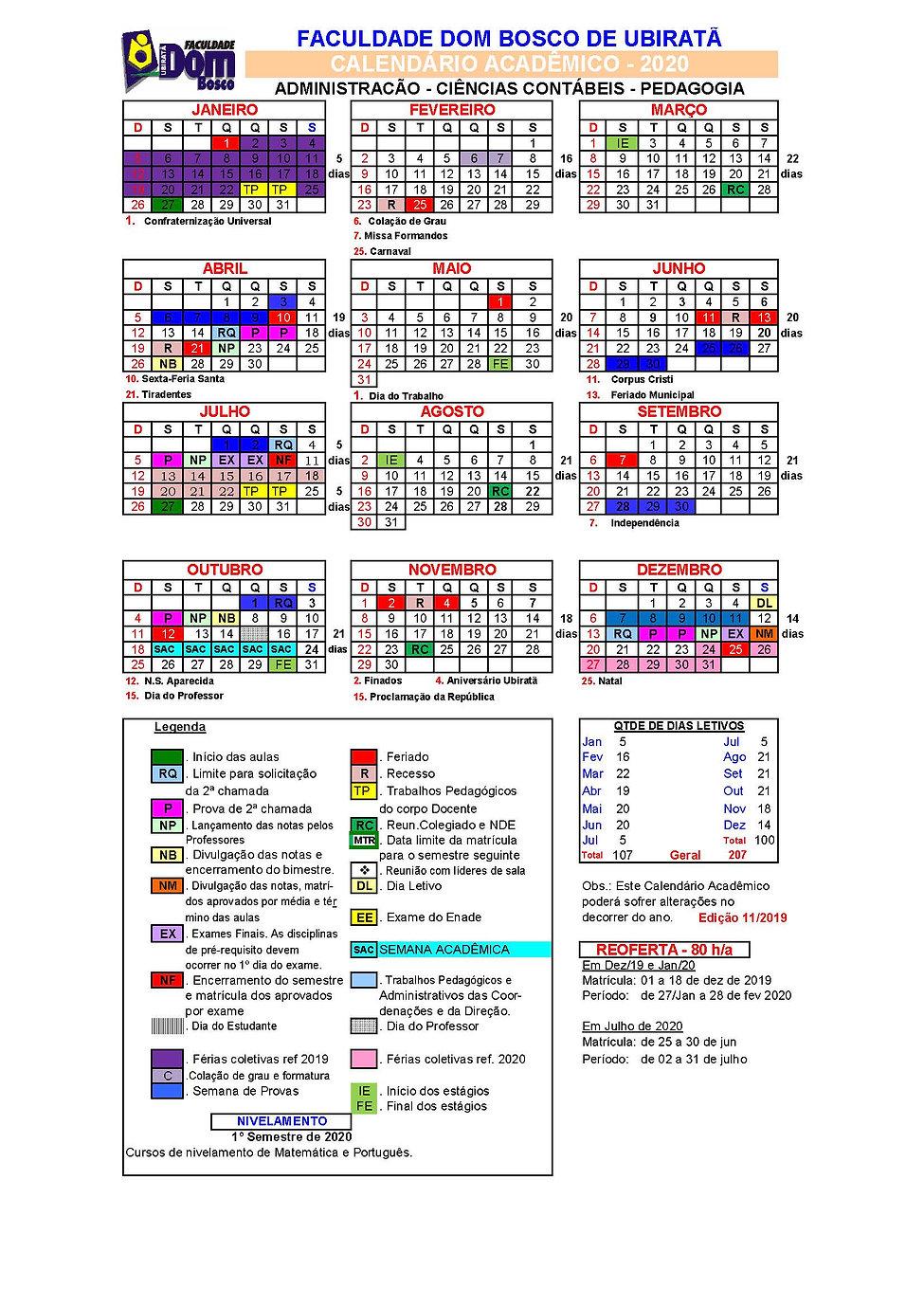 Calendario Academico 2020 Ubirata_ed 25_
