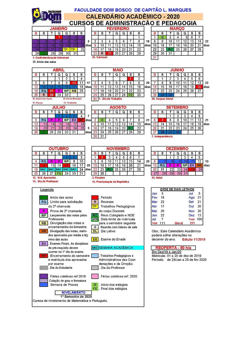 Calendario Academico 2020 Cap Leo Marque