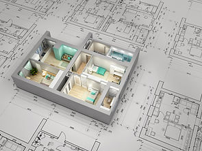 Visualization of apartment over architec