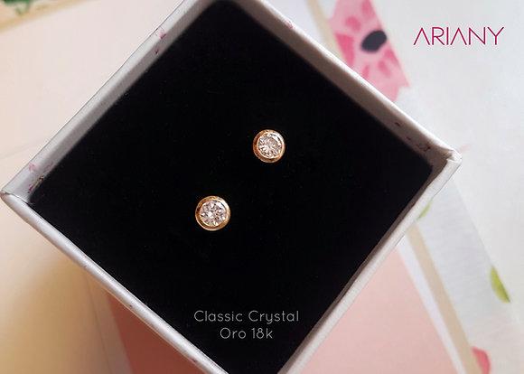 Aretes Classic Crystal - Oro 18k