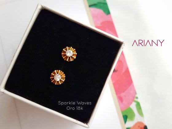 Aretes Sparkle Waves - Oro 18k