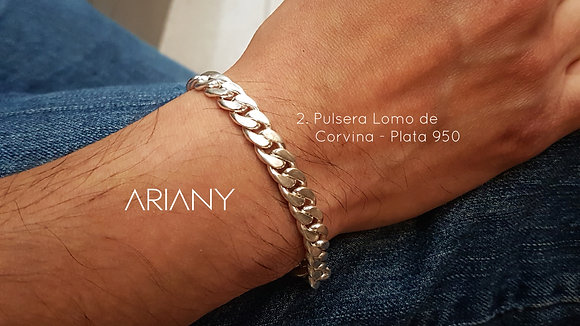 Pulsera Lomo de Corvina #2 Hombre - Plata 950