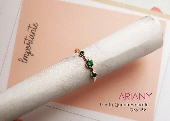 Anillo Trinity Queen Emerald - Oro 18k