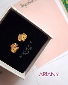 Aretes Baby Elephant - Oro 18k
