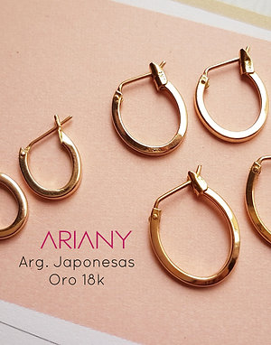 Argollas Japonesas Oval - Oro 18k