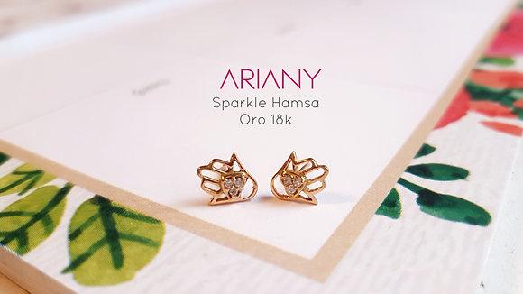 Aretes Sparkle Hamsa - Oro 18k