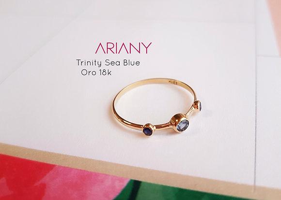 Anillo Trinity Sea Blue - Oro 18k