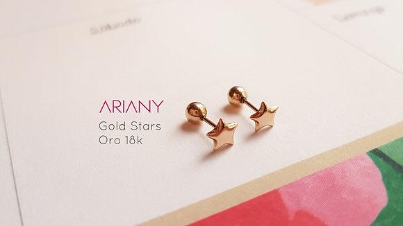Aretes Gold Stars - Oro 18k